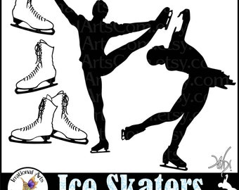 Ice Skaters set 1 - Male and Female skaters + 3 files with ice skates clip art digital graphics [ INSTANT DOWNLOAD ]