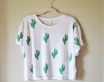 Cactus Women's Cropped Shirt , Hand Printed , Crop Top , Block Printed
