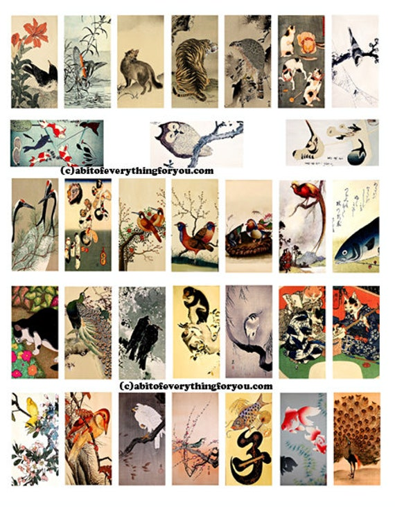 "vintage animal nature paintings art domino collage sheet digital download 1"" x 2"" inch graphics japanese art images printables pendants"