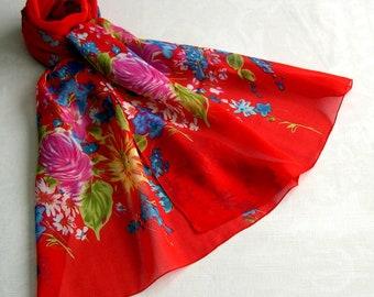 Scarf, scarf - scarf simple classic REF. 087 - spring flower pattern