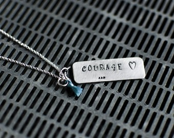 Courage Necklace   Silver Necklace   Handmade Silver Necklace   Gifts For Her   Handmade Jewelry   Inspirational Necklace