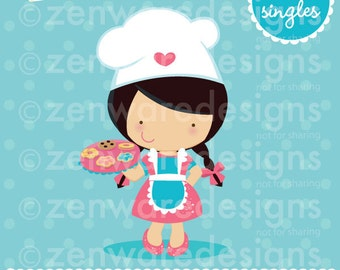 Black Haired Chef Girl Clipart