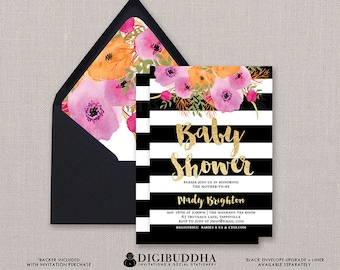Baby Shower Invitation Girl Baby Shower Invite Black White Stripe Invitation Gold Glitter Printed or Printable Baby Shower Invitation - Mady
