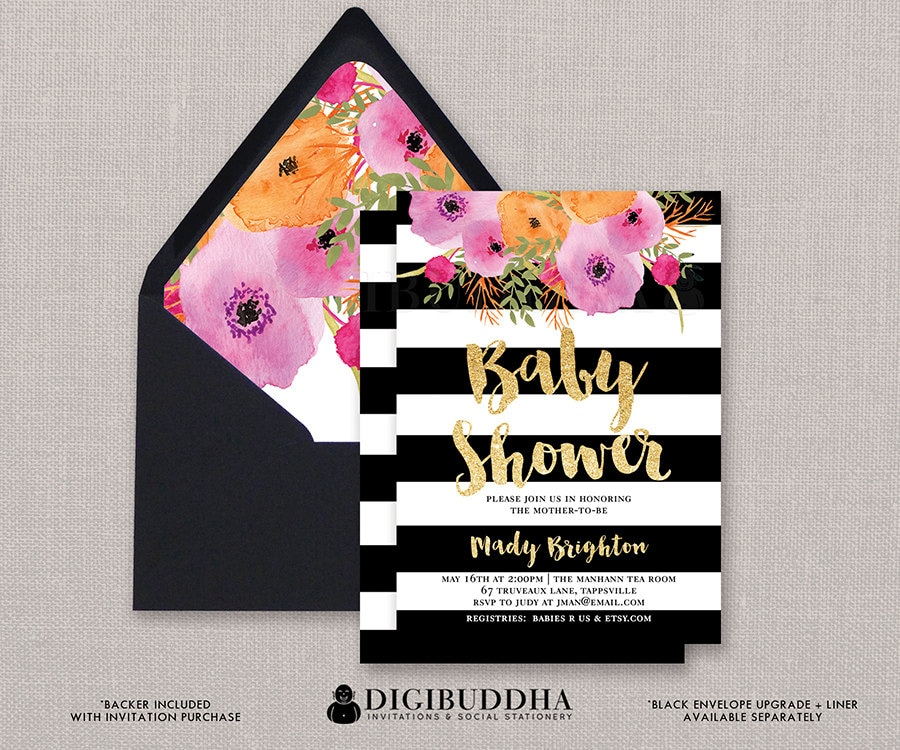 Baby shower invitation girl baby shower invite black white zoom filmwisefo Images