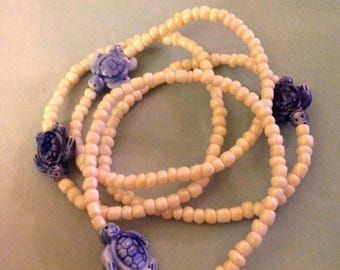 Four Ceramic turtle bracelets