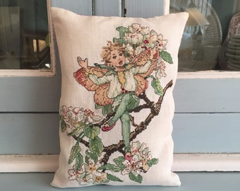Handmade Cross Stitch Flower Fairy Pearblossom Spring Decor Pillow Nursery Decor