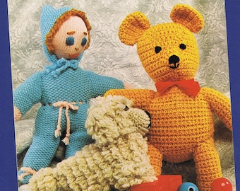 Original Vintage Patons Toys Knitting/Crochet Pattern 1157 - Teddy Bear, Baby Bunting, Peter Puppy.