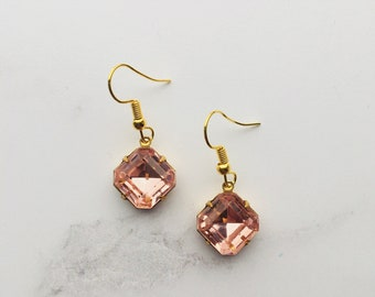 Rose pink vintage glass octagon earrings