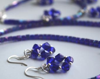 Iridescent Blue Flowers/Stars Necklace, Earrings, and Bracelet Set