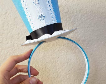 "Mini Top Hat Headband. For Alice in the Wonderland parties, mad hatter party, disney party, ""unbirthday"" party, bridal shower, birthday etc"