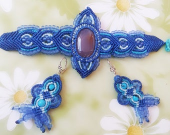 Macrame Set Bracelet and Earrings With Chalcedony and Turquoise