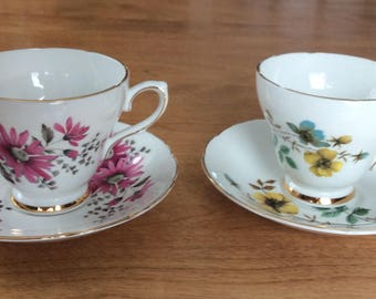 Royal Kendall Fine Bone China set of two Tea Cups and Saucers Floral Pattern.