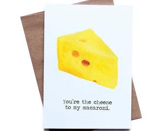 Food Pun Greeting Card for Him Her I Love You Birthday Anniversary Boyfriend Girlfriend Husband Wife Macaroni and Cheese