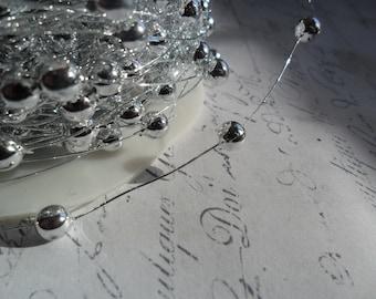 Metallic Silver Wired Bead Trim