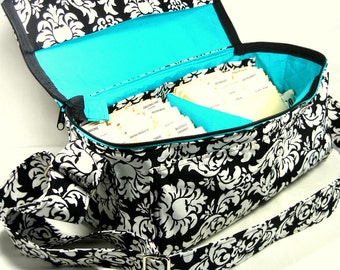 Coupon Pocketbook, Coupon Organizer, Extreme Couponing, Double Wide Coupon Bag, Damask