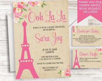 Paris baby shower etsy paris baby shower invite invitation sprinkle floral vintage digital 5x7 pink girls eiffel tower ooh la filmwisefo Gallery