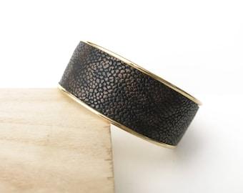 Bracelet, Cuff, Leather, Black, Copper, Textured