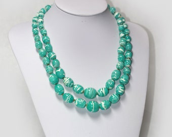 Vintage Round Turquoise & White Plastic Graduated Bead Necklace signed Hong Kong