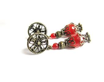Orecchini arancioni pendenti pietre dure agata corniola orecchini pietre bronzo orecchini vintage gioielli pietre dure regalo per lei