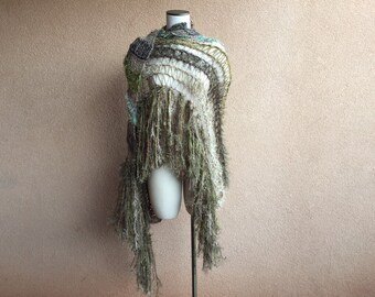 Olive Green Womens Green Shawl Green Shawl Wrap Wide Scarf Shawl with Fringe Shawl Khaki Brown and Green Sage Shawl