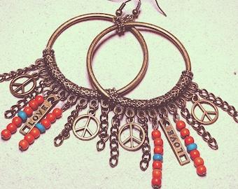 Boho hoops peace and love