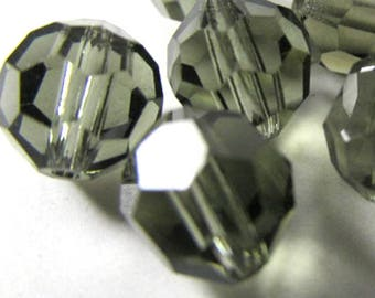 Black Diamond Swarovski #5000 8mm Faceted Rounds (8 beads)
