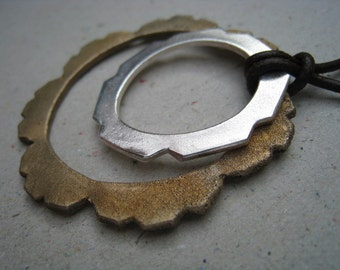 Double Hoop Bronze and Fine Silver Mixed Metal Necklace - Mixed Metal Pendant - Hoop Necklace