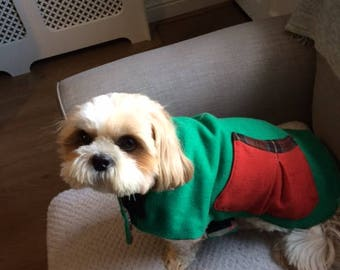Green Wool Reversible Dog Coat