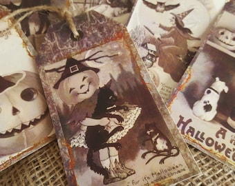 6 Happy Halloween Vintage Style Gift Tags
