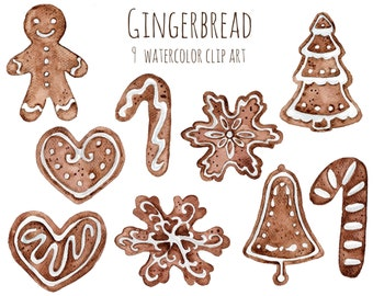 Buy 3 for 9 USD - Handpainted watercolor Gingerbread Cookies Clipart Christmas Clip Art INSTANT DOWNLOAD