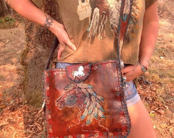SOLD*******SouthWestern Hand Tooled War Pony /Feather Art Leather Crossbody Handbag w/ Turquoise Fringe...