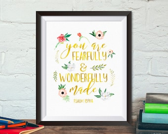 Buy One Get One, You are fearfully and wonderfully made, 8x10 or 11x14, Psalms 139:14, watercolor flowers, pink, faux gold, nursery decor