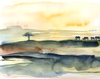 original watercolor painting - elephants on the horizon