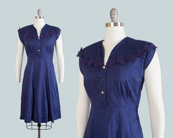 Vintage 1950s Dress | 50s Navy Blue Cotton Shirtwaist Pintuck Lace Full Skirt Day Dress (medium)
