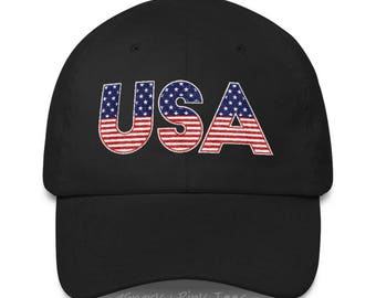 Patriotic Hat - USA Hat - American Flag Hat - Baseball Hat - Embroidered Hat - 4th of July - Independence Day - Gift for Him - Gift for Her