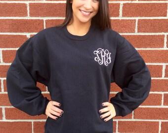 Womans Monogrammed sweatshirt , personalized sweatshirt , embroidered ladies sweatshirt, womans sweatshirt, 12 colors