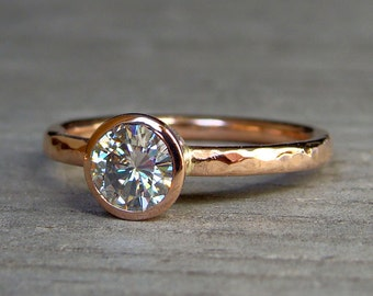 Moissanite Rose Gold Engagement Ring - Forever One GHI Moissanite + Recycled 14k Rose Gold, Eco-Friendly Diamond Alternative, Made to Order
