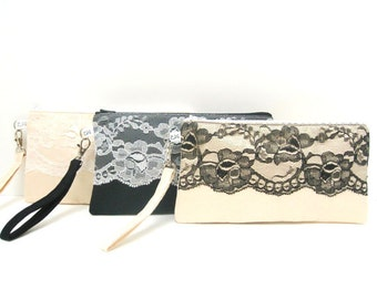 Bridal Bridesmaid Clutch Rectangle Wristlet, Lace on Satin