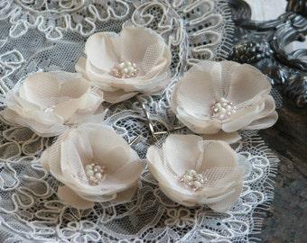 Cream hair flower Champagne hair flower Cream wedding flower Ivory hair flower Cream wedding flower Cream headpiece Champagne hair piece