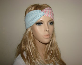 American flag turban headband, pink blue USA Hair Band jersey knit, Patriotic Yoga Headband, 4th of July twist headband