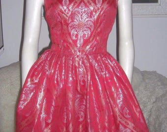 Silvano Of Roma For Heiser Vtg 50s Red Silk Silver Gold Metallic Dress Sz S