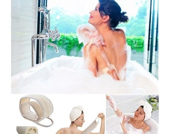 Natural Loofah Sponge Wood Brush and Back Scrubber for Bath Kitchen