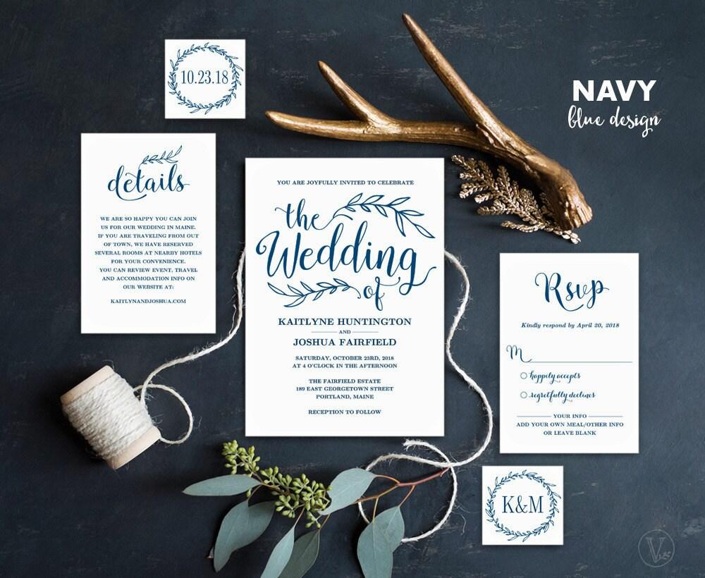 Blue Wedding Invitation: Navy Blue Wedding Invitation Printable Wedding Invitations