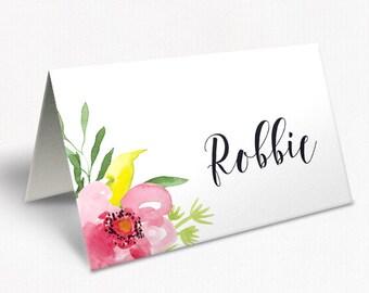 Modern Watercolour Floral Wedding Place Cards, Script Font, Custom Placecards, Free Colour Changes, DEPOSIT | Peach Perfect Australia