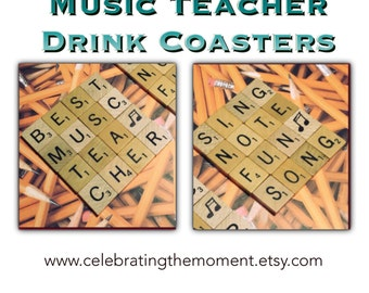 Music Teacher Gift, Drink Coaster Unique Gift, Gifts for Teachers, desk decor, musician gift