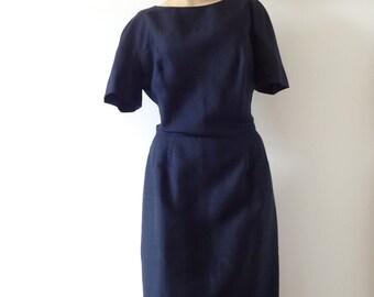 1950s Sheath Dress - vintage wiggle dress - navy blue - size L