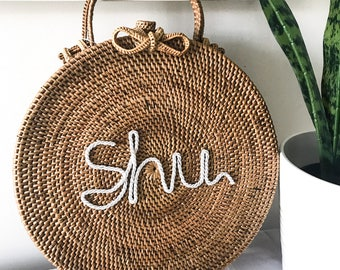 Personalized Initials Round Rattan Bag Leather Hand-bag Clutch Customised Personalised  Travel Holiday Luxury Ata Brown Short Handle Wedding