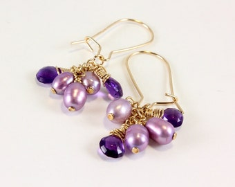 Amethyst and Freshwater Pearl Earrings, February Birthstone Jewelry, Amethyst Birthstone Jewelry, Cluster Earrings