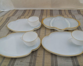 3 Vintage Anchor Hocking Fire King White Milk Glass with Gold Trim Snack Sets & Divided  Tray