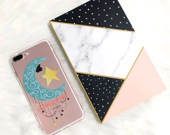 Dreamer.iPhone X case.iPhone 7 case.iPhone 7Plus case.iPhone 6s case.iPhone 6s Plus case.iPhone 8 case.iPhone 8 Plus.Moon and Stars.Dreaming